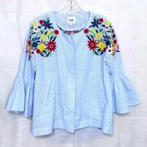 Luii Anthropologie Embroidered Striped Top Blouse